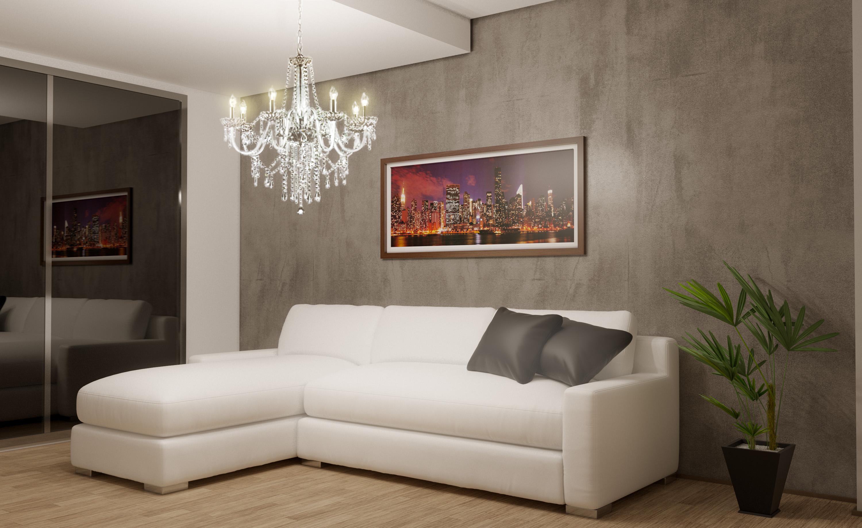 Sala De Estar E Tv Com Efeito De Cimento Queimado Leroy Merlin -> Sala Branca Com Parede Colorida
