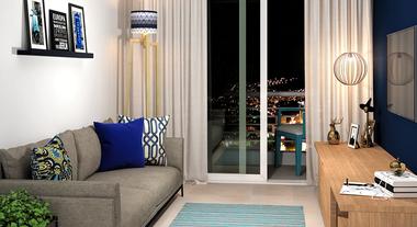 Sala de estar pequena com decoração azul