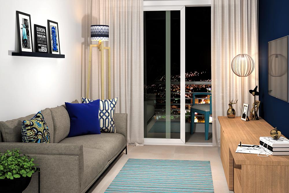 Sala de estar pequena com decora o azul leroy merlin for Sala de estar hundida
