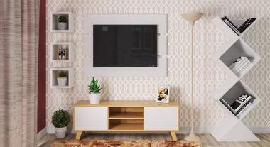 Sala de estar pequena com papel de parede e nichos