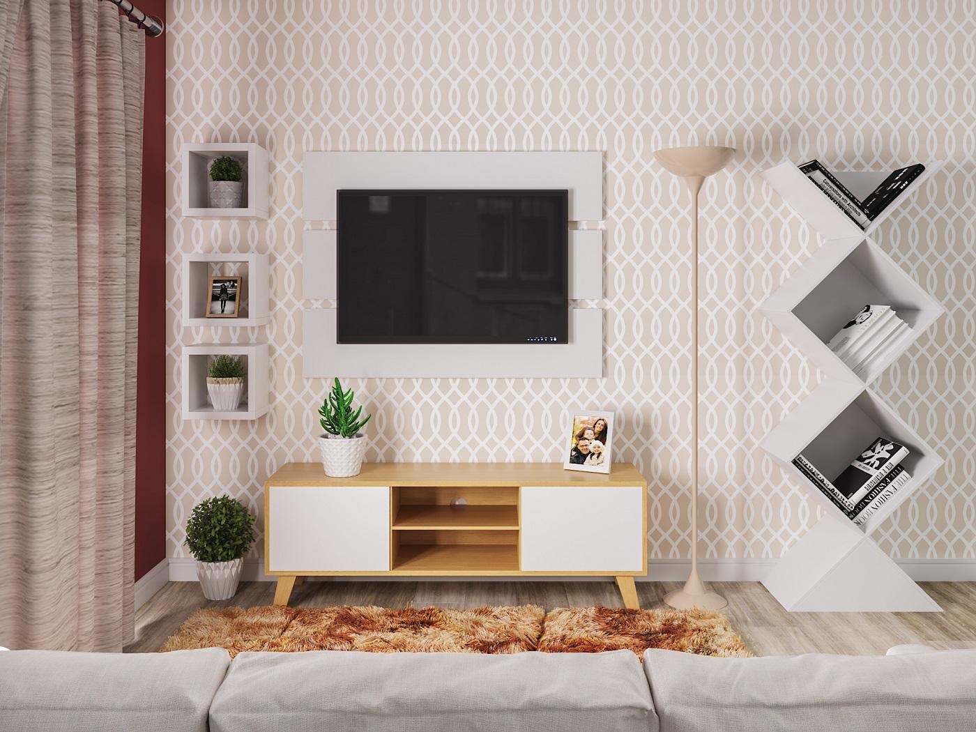 Sala de estar pequena com papel de parede e nichos leroy for Sala de estar com papel de parede 3d