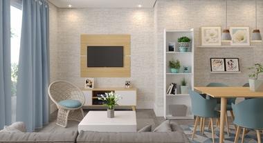 Sala de estar pequena integrada com sala de jantar