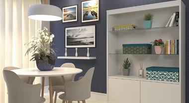 Sala de jantar com armário e papel de parede