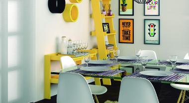 Sala de jantar com decoração amarela
