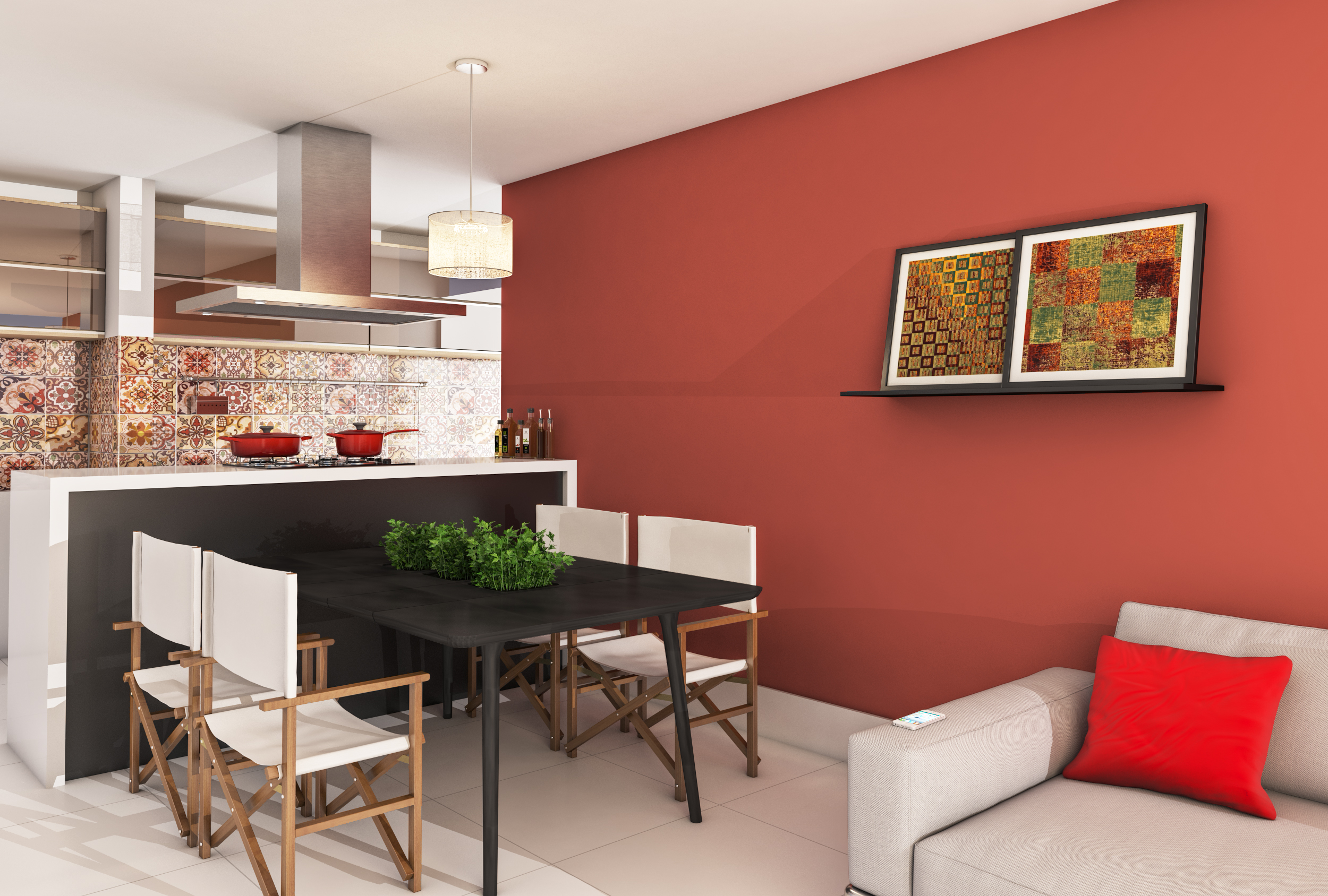 Sala De Jantar Com Parede Colorida Leroy Merlin -> Acabamento Sala Pequena