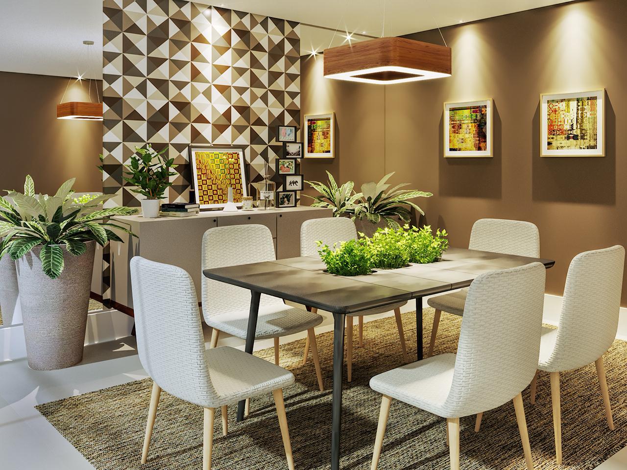 22535dc89 Sala de jantar decorada com quadros e espelho