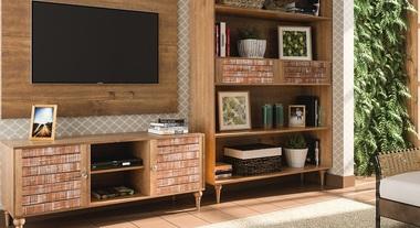 Sala de TV em casa de fazenda