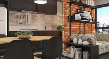 Sala integrada com decoração industrial