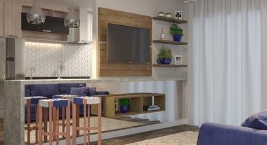 Sala integrada pequena com cozinha americana