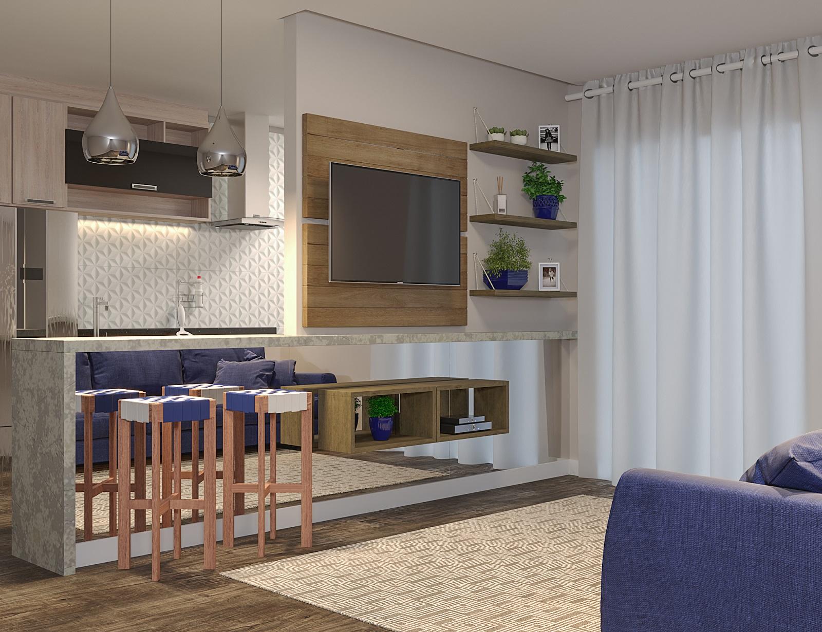 Sala Integrada Pequena Com Cozinha Americana Leroy Merlin