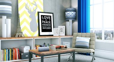 Sala moderna e descontraída