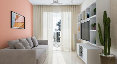 Sala pequena com porcelanato líquido e ventilador de teto