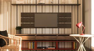 Sala pequena com rack e painel para televisão