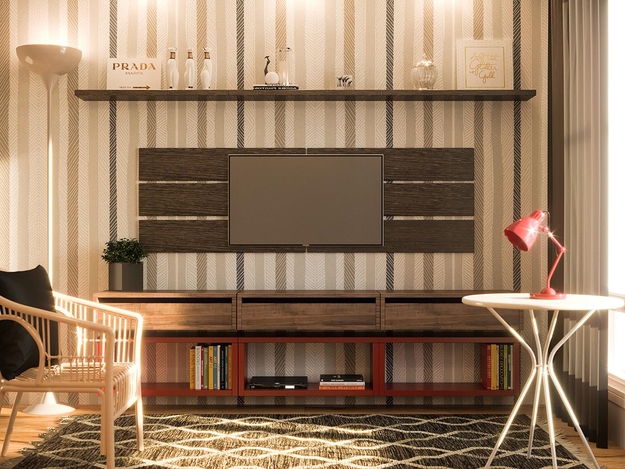 Sala Pequena Com Rack E Painel Para Televis O Leroy Merlin -> Acabamento Sala Pequena
