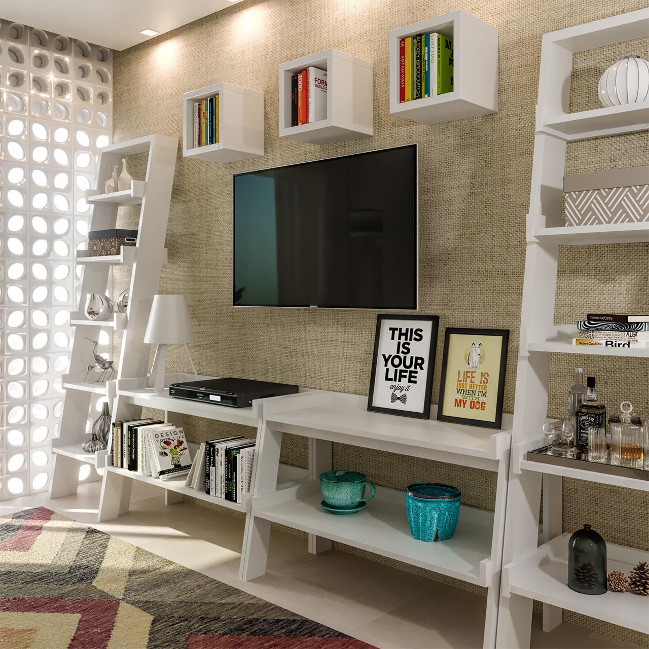 Sala pequena com rack feito de estantes # Decoração Rack Para Sala Pequena
