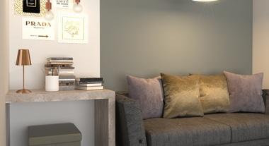 Sala pequena decorada com objetos Golden Rose