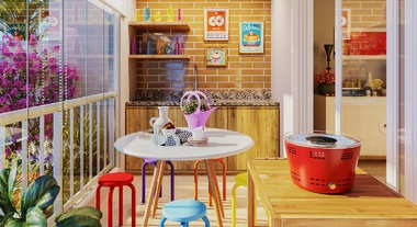 Varanda de apartamento com mesa para sacada pequena