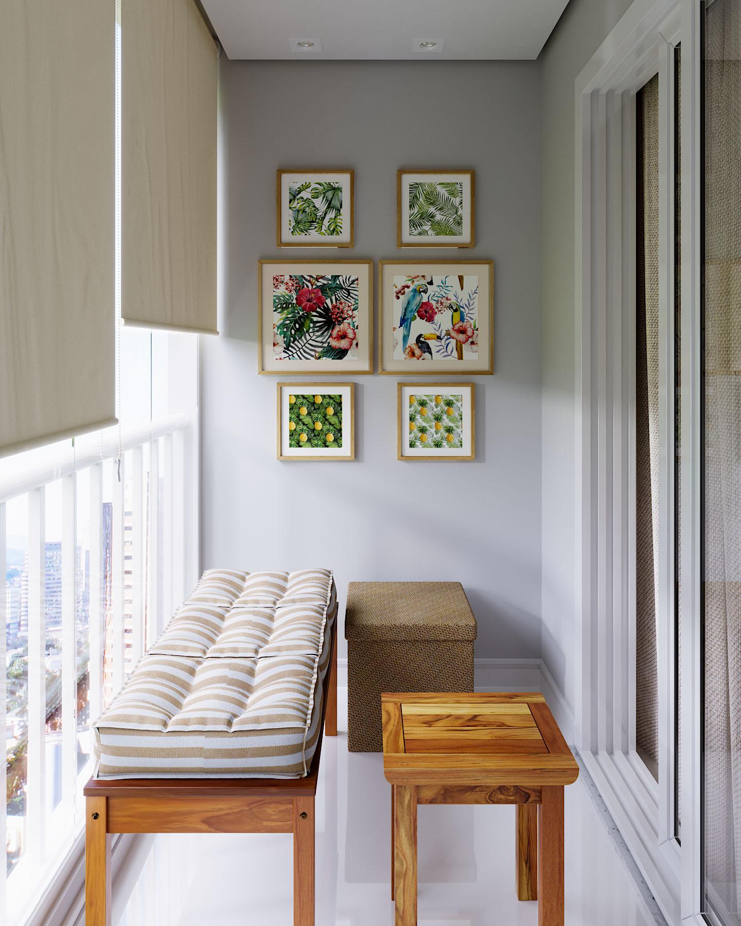 Apartamento Pequeno: Varanda De Apartamento Pequena Decorada