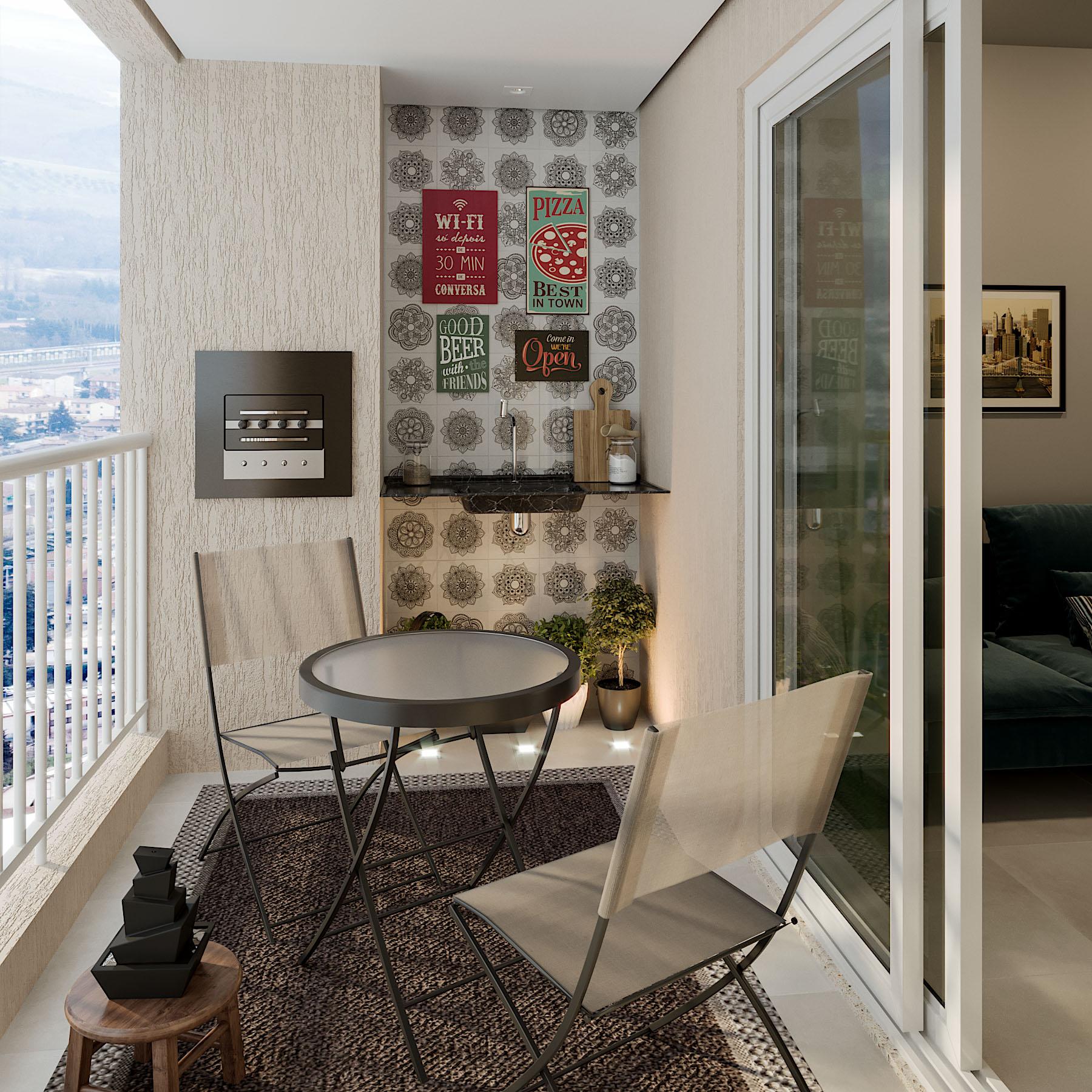 Apartamento Pequeno: Varanda De Apartamento Pequeno Com Mesa Externa