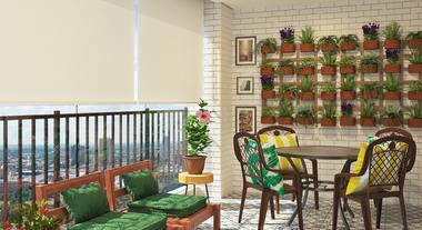 Varanda gourmet com jardim vertical e decoração moderna