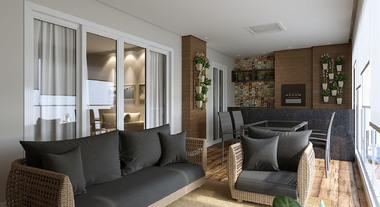 Varanda grande de apartamento decorada com jardim vertical