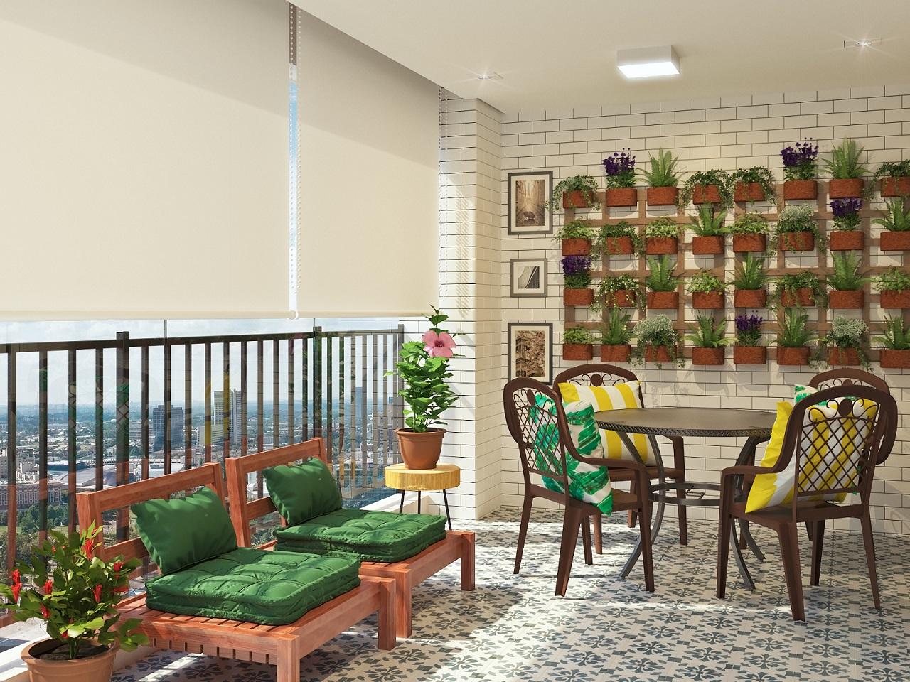 Varanda grande decorada com jardim vertical leroy merlin for Plantas decorativas en leroy merlin