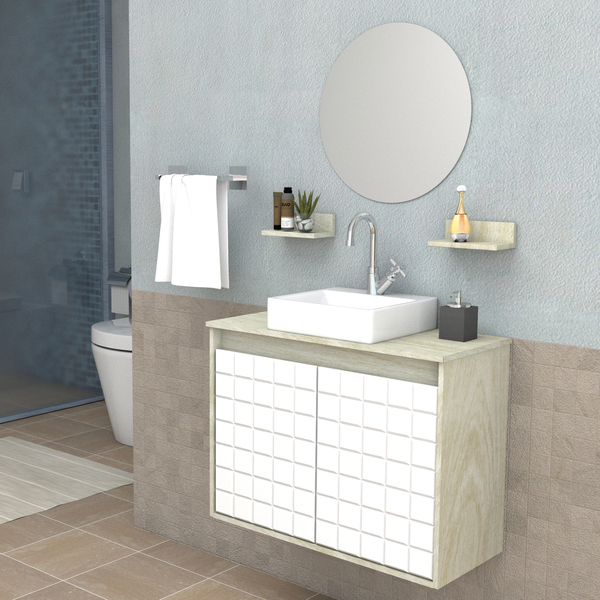 Gabinete Para Banheiro Com Espelho Carol 527x70x305cm Artico E Branco Darabas Agardi
