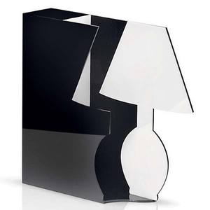Abajur Acrílico 30x9cm Branco/Preto MM Iluminação