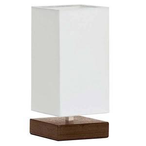 Abajur Madeira/Tecido 27x12cm Branco/Tabaco MM Iluminação