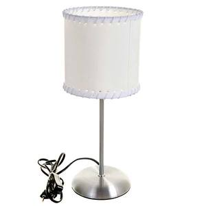 Abajur Metal/Tecido 38x13cm Branco/Prata MM Iluminação