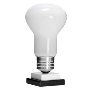 Abajur Metal/Vidro/Madeira 46x20cm Branco/Prata MM Iluminação