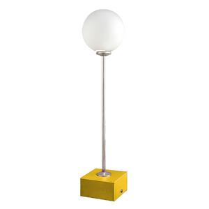 Abajur Esfera Pantoja Quadrado Alumínio/Vidro Amarelo 42x10cm Bivolt