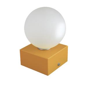 Abajur Esfera Pantoja Quadrado Alumínio/Vidro Dourado 15x10cm Bivolt
