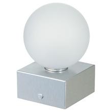 Abajur Pantoja&Carmona Esfera Quadrado Alumínio/Vidro Prata 1 Lamp Bivolt