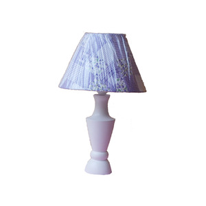 Abajur Vaso ArtLuz Redondo Madeira/Tecido Branco 8x26cm Bivolt