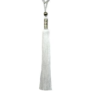 Abraçadeira para Cortina 65cm Pingente Cromado Branca Luba
