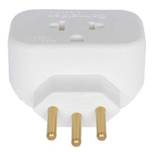 Adaptador 10A até 250V 2P+T plástico anti-chama liga de cobre branco Schneider