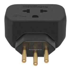 Adaptador 10A até 250V 2P+T plástico anti-chama liga de cobre preto Schneider