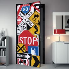 Adesivo de Porta Stop Multicolorido 82x210cm