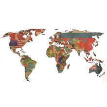 Adesivo Decorativo Mapa Mundi Colorido 180x100cm