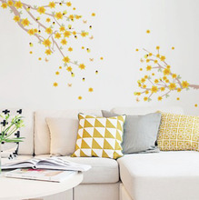 Adesivo Decorativo Ramo de Acácias Amarelo 162,4x58,5cm