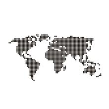 Adesivo Mapa Mundi Dot Industrial 130x65cm Preto e Branco Inspire