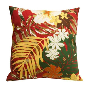 Almofada Tropicália Floral Vermelha 45x45cm