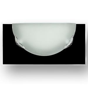 Arandela 1/2 Cara 1 Lâmp. E27 Retangular com meia-lua 34x17cm Preto e branco Ema Lustres