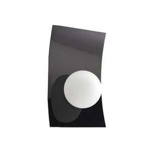 Arandela  Alumínio/Vidro 24x15cm Preta Pantoja