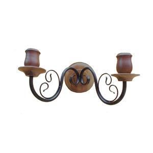 Arandela Artluz Ferro/Madeira Preta 2 Lamp Bivolt