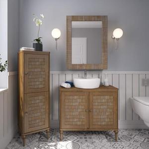 Armário de banheiro Inova 128,2x40x37cm Mogno Natural P&C Artemobili