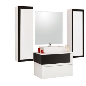 Armário de Banheiro Modular MDF Aludra Preto Cerocha