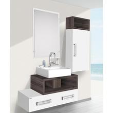 Armário Modular de Banheiro com Nicho Madeira Branco e Amêndoa 96x4x21cm Gold Fabribam