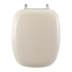 Assento Sanitário Madeira Bege Fechamento Comum Fixação Cromada para Vaso Celite Stylus